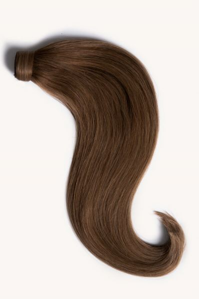 Light brown 16 inch clip-in ponytail extensions human hair 6