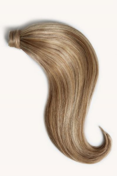 Medium blonde highlighted 16 inch clip-in ponytail extensions human hair P6-16-613