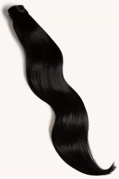 """Jet Black, 32"""" Clip-in Ponytail Hair Extensions, #1   180g"""