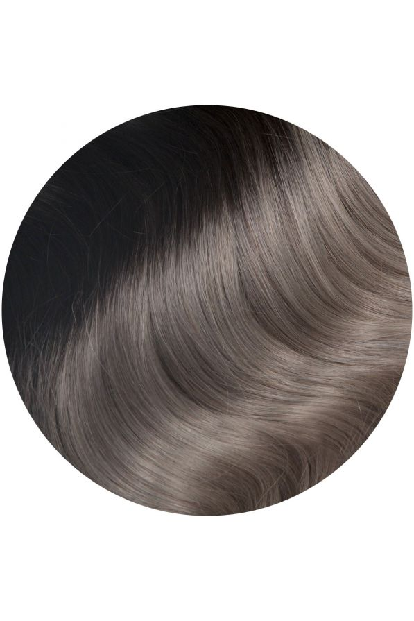 silver ombre single weft hair extensions spaced out 16 18 inches
