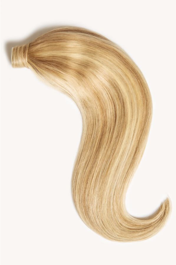 Beach blonde highlighted 16 inch clip-in ponytail extensions human hair P613-18