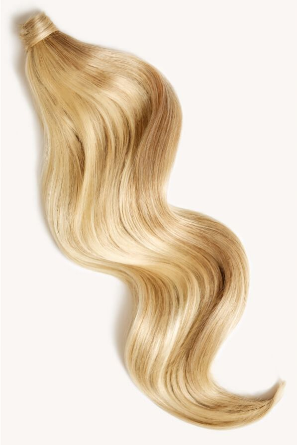 Beach blonde highlighted 24 inch clip-in ponytail extensions human hair P613-18