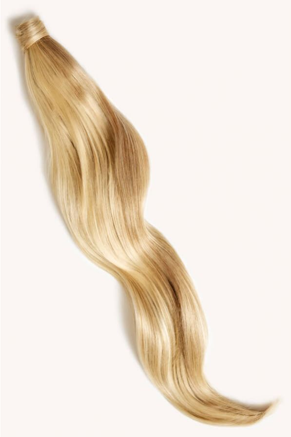 Beach blonde highlighted 32 inch clip-in ponytail extensions human hair P613-18