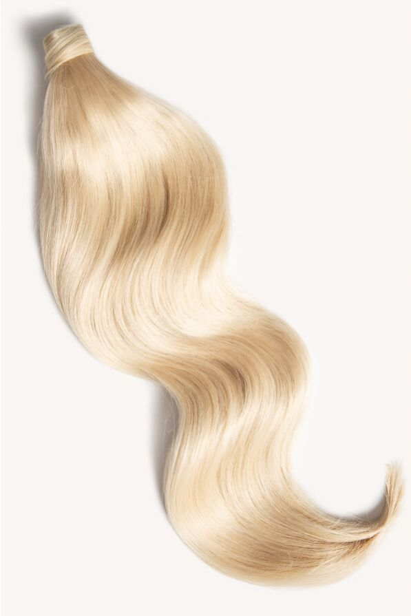 Bleached blonde 24 inch clip-in ponytail extensions human hair 60