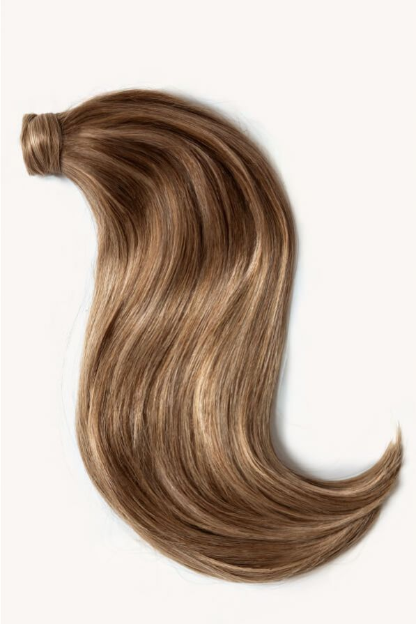 Bronde highlighted 16 inch clip-in ponytail extensions human hair P10-18-6