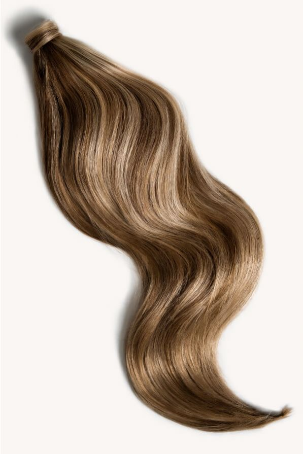 Bronde highlighted 24 inch clip-in ponytail extensions human hair P10-18-6