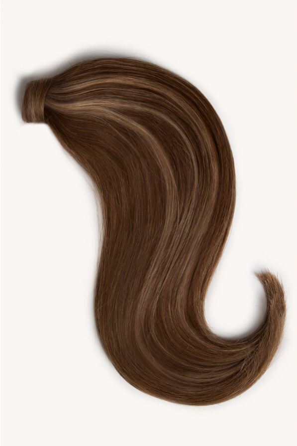 Brown blonde highlighted 16 inch clip-in ponytail extensions human hair PP4-18