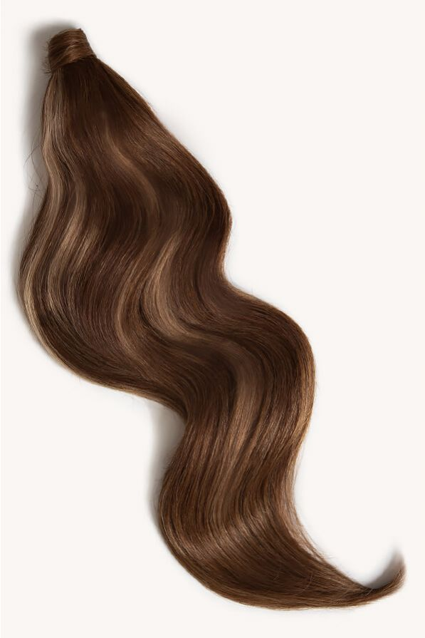 Brown blonde highlighted 24 inch clip-in ponytail extensions human hair PP4-18