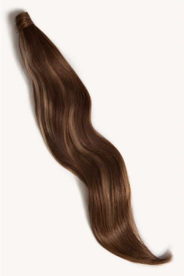 Brown blonde highlighted 32 inch clip-in ponytail extensions human hair PP4-18