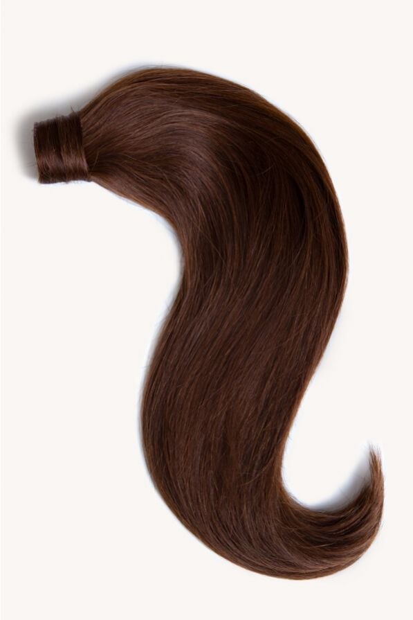 Chocolate brown 16 inch clip-in ponytail extensions human hair 4