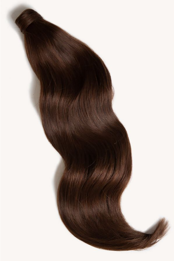 Chocolate brown 24 inch clip-in ponytail extensions human hair 4