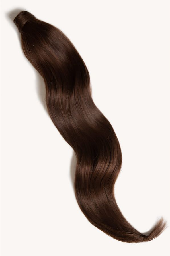 Chocolate brown 32 inch clip-in ponytail extensions human hair 4