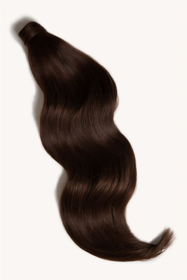 Dark brown 24 inch clip-in ponytail extensions human hair 2