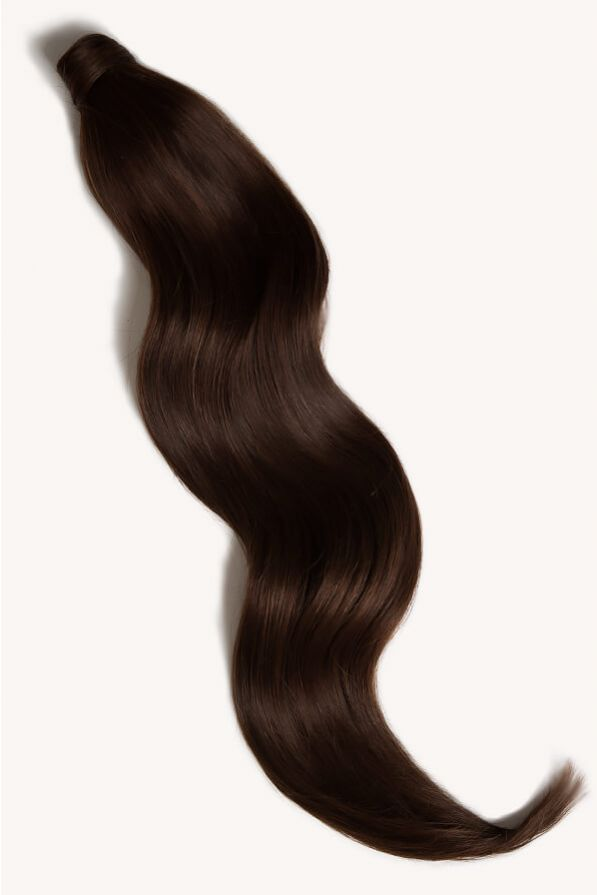 Dark brown 32 inch clip-in ponytail extensions human hair 2