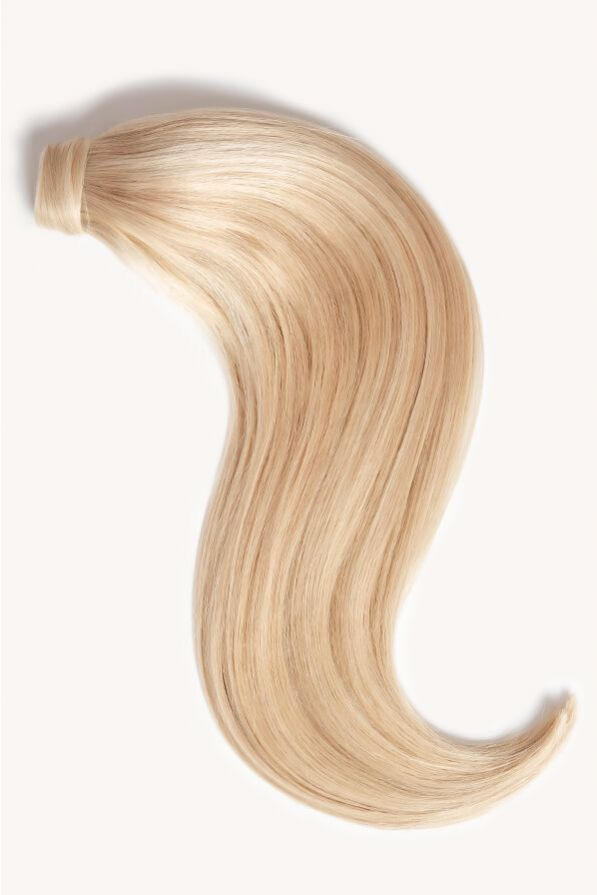 Light blonde highlighted 16 inch clip-in ponytail extensions human hair F60-24