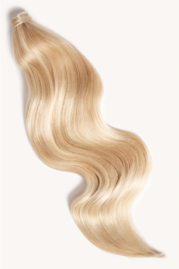 Light blonde highlighted 24 inch clip-in ponytail extensions human hair F60-24