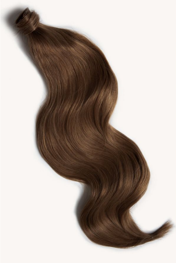 Light brown 24 inch clip-in ponytail extensions human hair 6