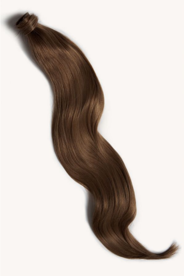 Light brown 32 inch clip-in ponytail extensions human hair 6