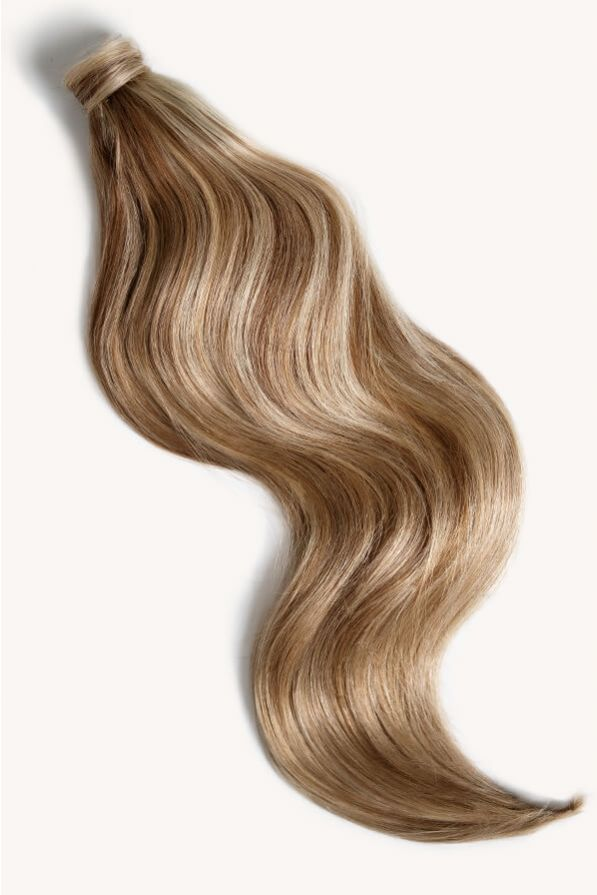 Medium blonde highlighted 24 inch clip-in ponytail extensions human hair P6-16-613