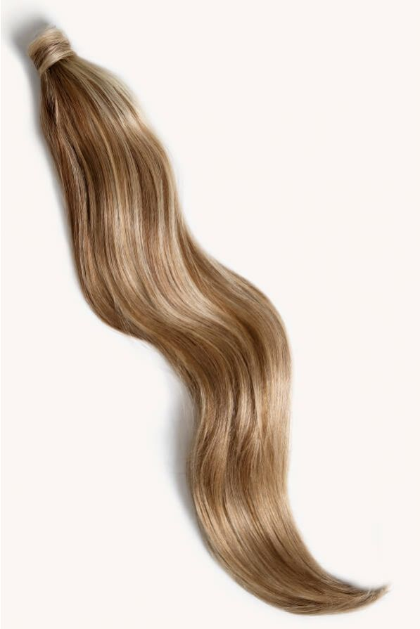 Medium blonde highlighted 32 inch clip-in ponytail extensions human hair P6-16-613