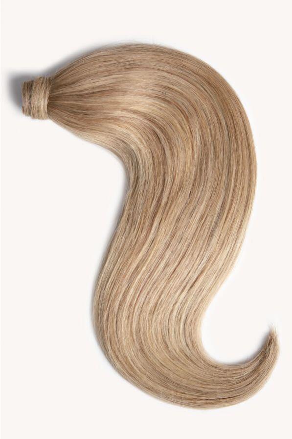Medium sandy blonde 16 inch clip-in ponytail extensions human hair 18