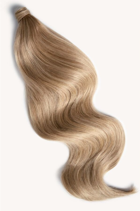 Medium sandy blonde 24 inch clip-in ponytail extensions human hair 18