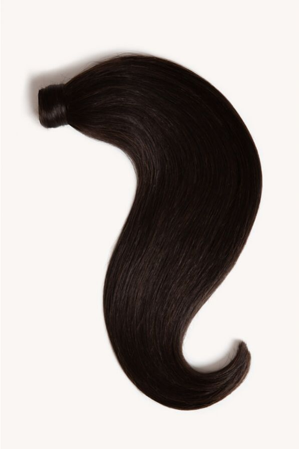 Natural black 16 inch clip-in ponytail extensions human hair 1B