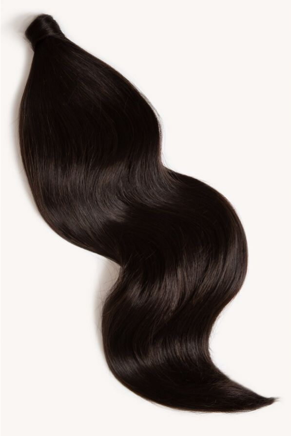 Natural black 24 inch clip-in ponytail extensions human hair 1B