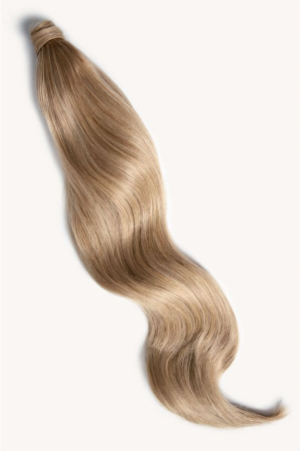 Medium sandy blonde 32 inch clip-in ponytail extensions human hair 18