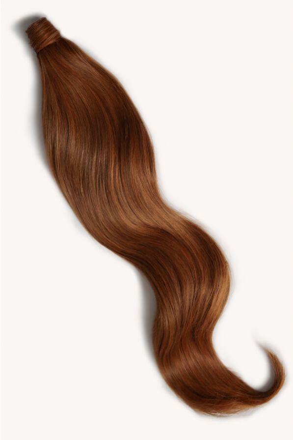 Rich auburn hair 32 inch clip-in ponytail extensions human hair M30-130