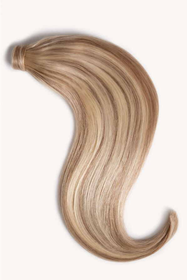 Sandy blonde highlighted 16 inch clip-in ponytail extensions human hair F10-613