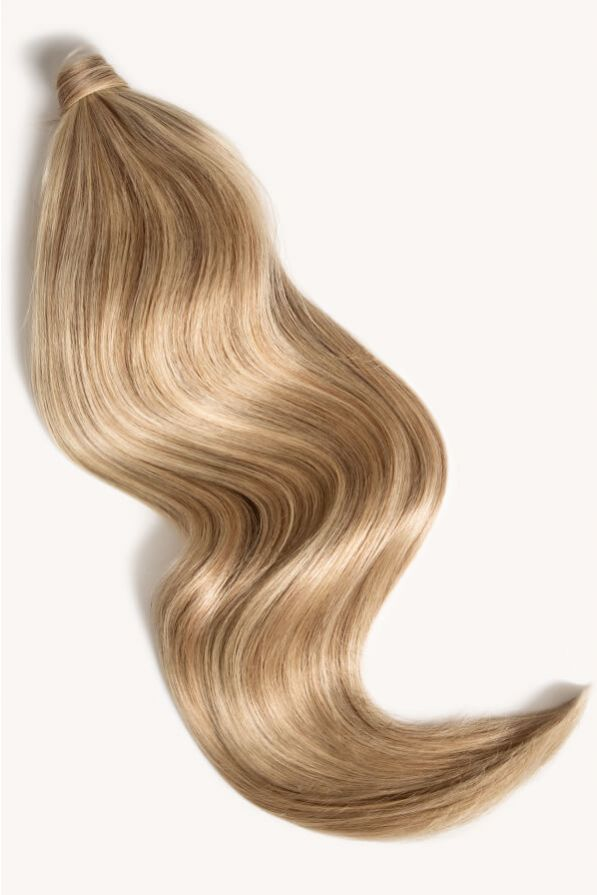 Sandy blonde highlighted 24 inch clip-in ponytail extensions human hair F10-613