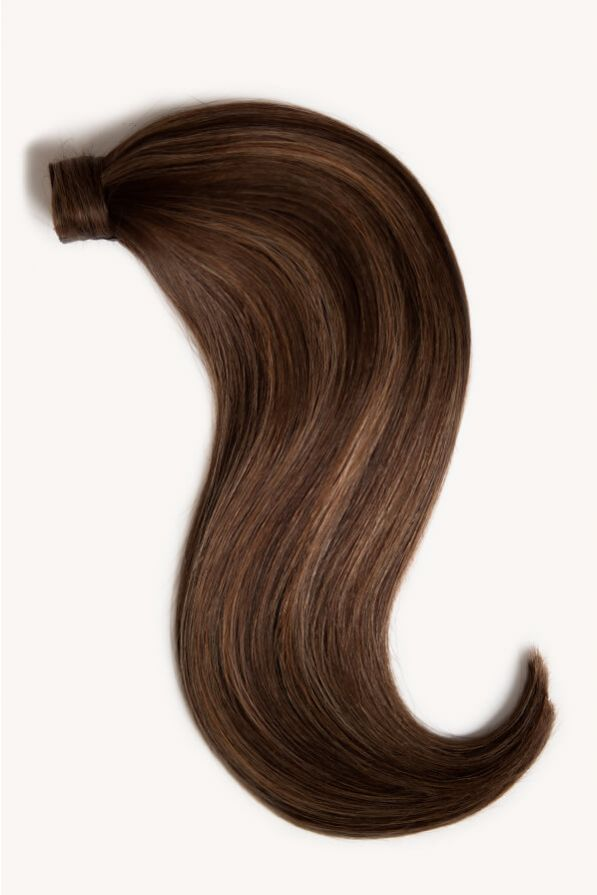 Subtle brunette highlighted 16 inch clip-in ponytail extensions human hair PP2-6