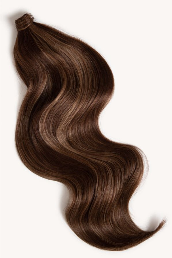 Subtle brunette highlighted 24 inch clip-in ponytail extensions human hair PP2-6