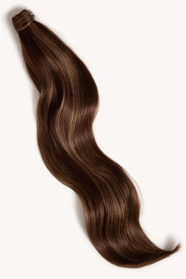 Subtle brunette highlighted 32 inch clip-in ponytail extensions human hair PP2-6