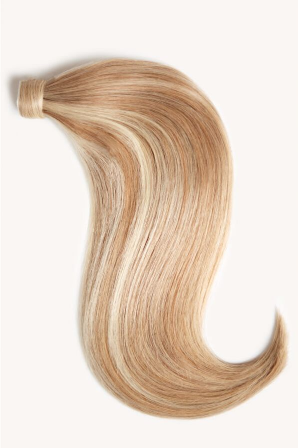 Warm blonde highlighted 16 inch clip-in ponytail extensions human hair F60-27A