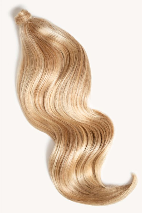 Warm blonde highlighted 24 inch clip-in ponytail extensions human hair F60-27A