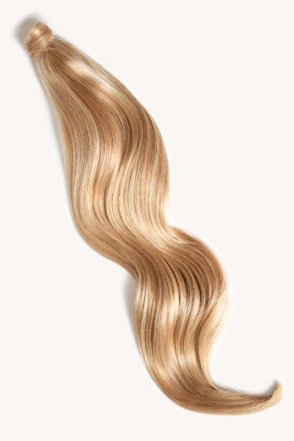 Warm blonde highlighted 32 inch clip-in ponytail extensions human hair F60-27A