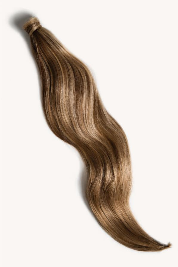Bronde highlighted 32 inch clip-in ponytail extensions human hair P10-18-6