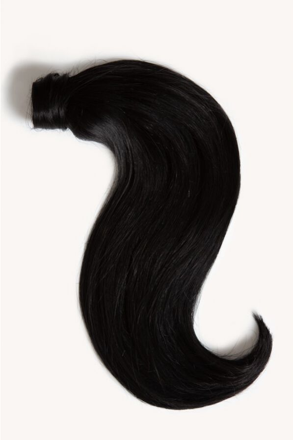 Jet black 16 inch clip-in ponytail extensions human hair 1