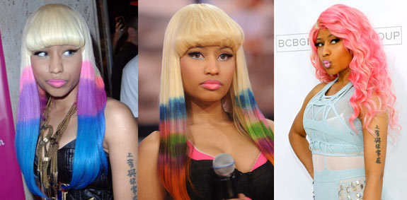 Nicki-Minaj-Coloured-Hair-Extensions