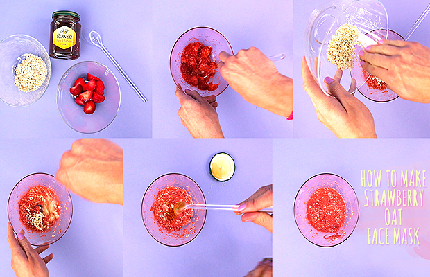 how to make a strawberry oat face mask