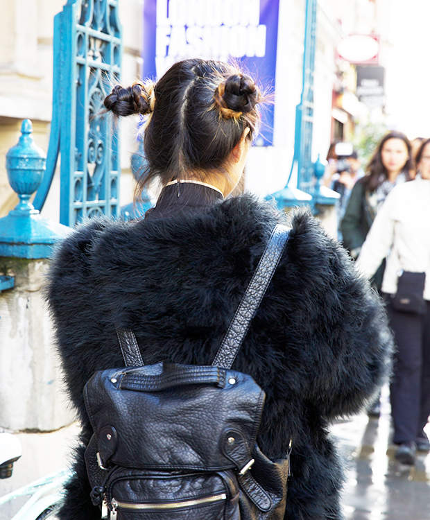 90s buns at London Fashion Week