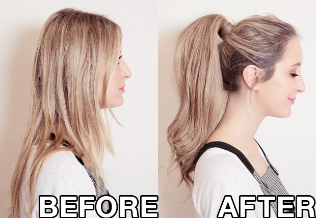 ponytail hair extensions before and after