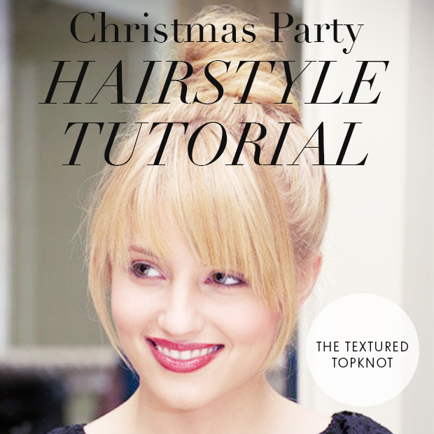 Christmas Party Hairstyle Tutorial: The Textured Topknot