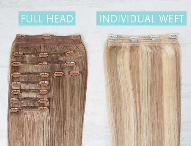 The difference between a full head set and individual wefts