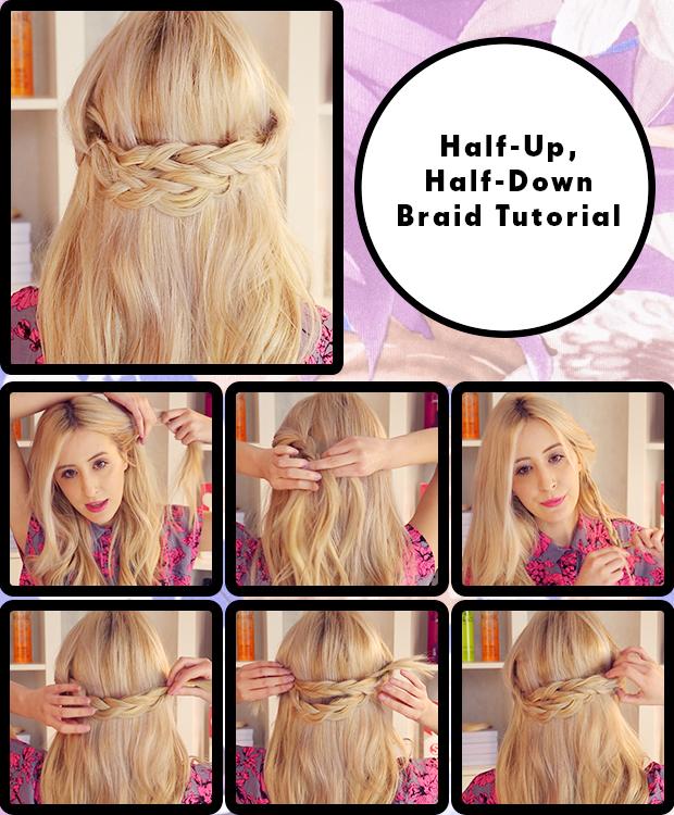 Half Up Down Braid Hair Tutorial