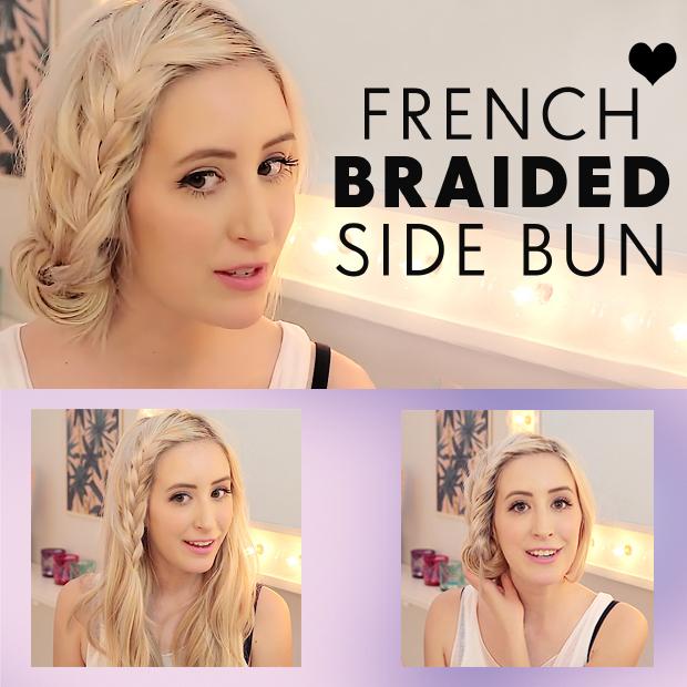 French Braided Side Bun Hair Tutorial