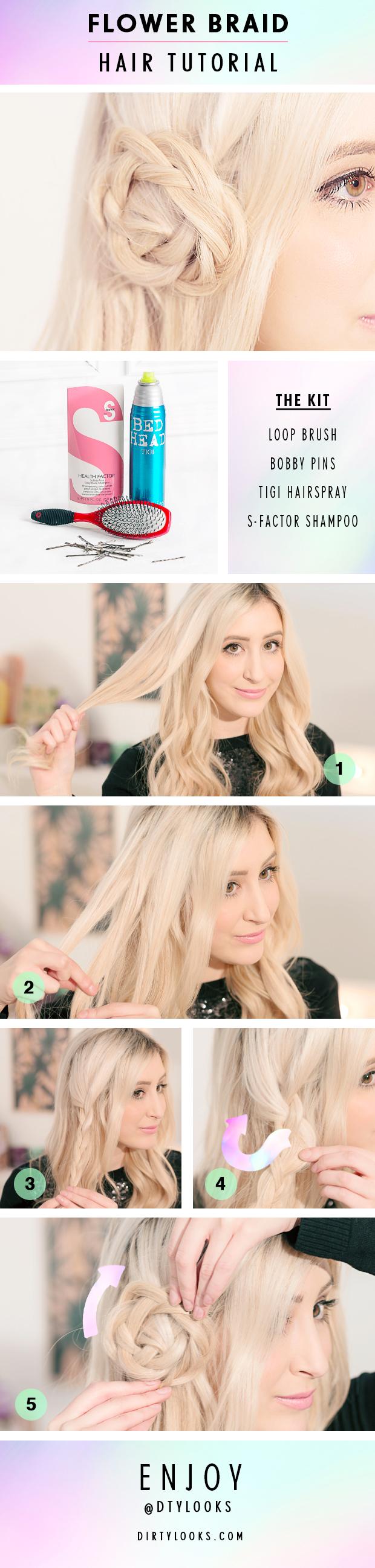 Flower Braid Hair Tutorial with Hair Extensions