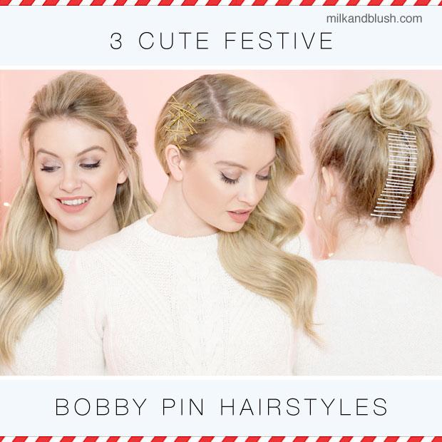 3 Cute Festive Bobby Pin Hairstyles Hair Extensions Blog Hair